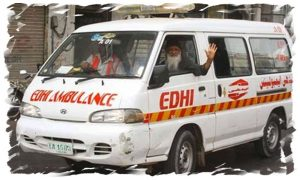 Abdul Sattar Edhi in Ambulance